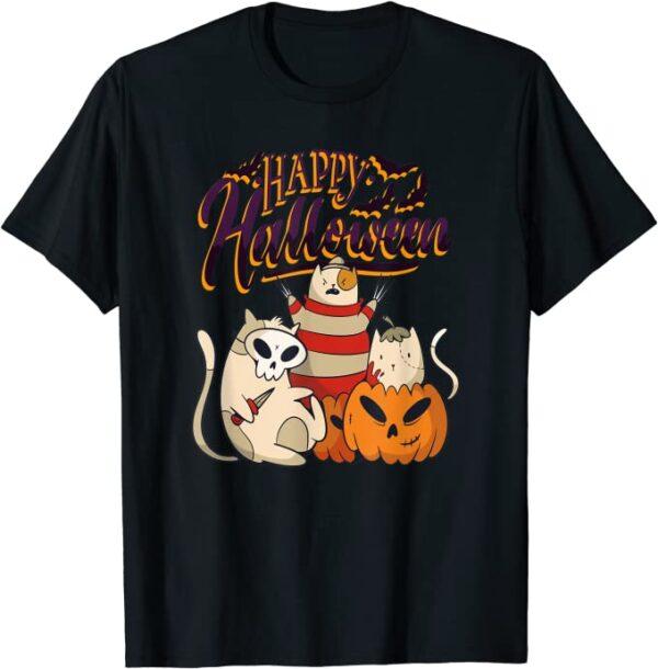 Happy Halloween gruslige Katzen Kinder Kostüm Halloween T-Shirt