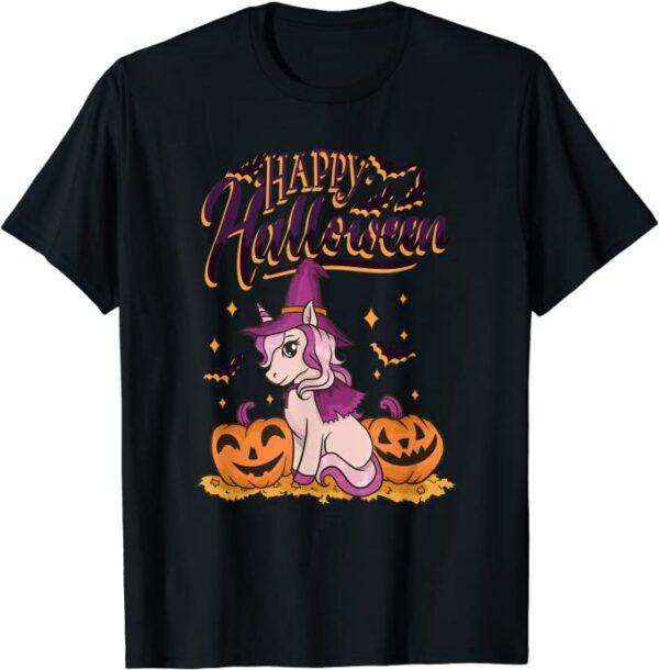 Happy Halloween grusliges Einhorn Kinder Kostüm Halloween T-Shirt